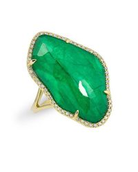 Anne Sisteron - Green 14kt Yellow Gold Emerald Nuage Diamond Ring - Lyst
