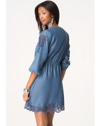 Bebe Blue Embroidered Chambray Dress