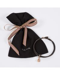 Paul Smith - Black Men's Rose Silver Ganesh Charm Brown Bracelet for Men - Lyst