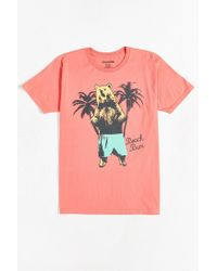 Urban Outfitters - Pink Beach Bear Tee for Men - Lyst