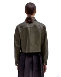 Yang Li Green Womens Incas Puchini Leather Denim Style Jacket