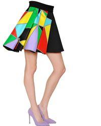 Fausto Puglisi Multicolor Printed Silk Twill & Ottoman Skirt