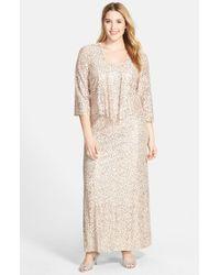 Alex Evenings - Metallic Sequin Lace Gown & Jacket - Lyst