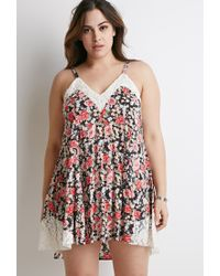 Forever 21 Multicolor Plus Size Lace-trimmed Floral Cami Dress