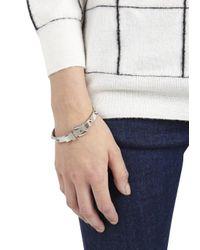 Michael Kors Metallic Silver Tone Studded Buckle Bracelet