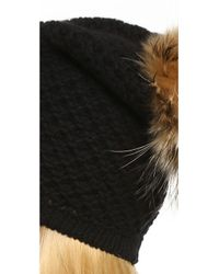 Inverni - Black Pom Beanie Hat - Lyst