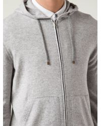 Brunello Cucinelli Gray Zipped Hoodie for men