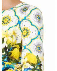 Dolce & Gabbana Blue Sicilian Lemonprint Jacquard Dress