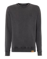 Label Lab | Gray Acid Wash Crew Neck Sweat for Men | Lyst