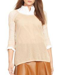 Ralph Lauren | Natural Lauren Petites Linen-blend Mesh Sweater | Lyst