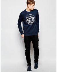 Jack & Jones. Men's Blue Sweatshirt With Cracked Print Logo