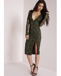 Missguided - Natural Lace Long Sleeve Side Split Midi Dress Khaki - Lyst