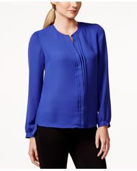 Laundry by Shelli Segal | Blue Woven Pleat-front Shirt | Lyst