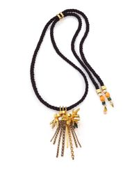 Lizzie Fortunato | Metallic Gilded 6mm-7mm White Round Pearl, Turquoise & Bone Tassel Pendant Necklace | Lyst