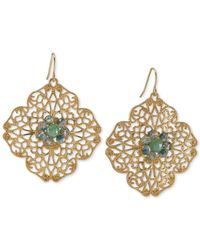 Carolee | Metallic Gold-Tone Green Stone Openwork Drop Earrings | Lyst