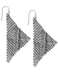 Swarovski | Ruthenium-plated Black Crystal Mesh Drop Earrings | Lyst