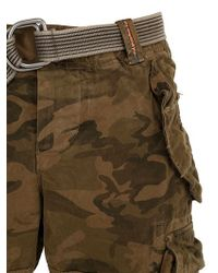 Superdry Brown Cotton Cargo Shorts for men