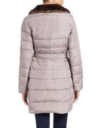 Ellen Tracy | Brown Faux Fur-trimmed Belted Coat | Lyst