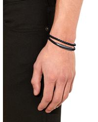 Bottega Veneta - Black Intrecciato Leather Double-wrap Bracelet for Men - Lyst