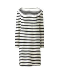 Uniqlo - Natural Women Striped Boat Neck Long Sleeve Dress - Lyst