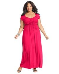 Soprano - Pink Plus Size Cap-Sleeve Empire Maxi Dress - Lyst