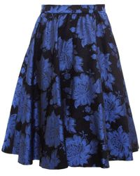 Alice + Olivia | Black 'earla' Floral Metallic Brocade Flare Skirt | Lyst