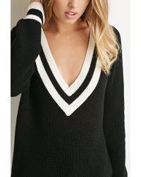 Forever 21 | Black Varsity Stripe V-neck Sweater | Lyst