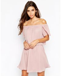 ASOS - Gypsy Off Shoulder Dress With Short Sleeves - Black - Lyst