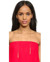 Rachel Zoe - Metallic Nicola Micro Tassel Necklace - Gold/Clear - Lyst