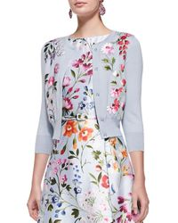 Oscar de la Renta Multicolor 3/4-Sleeve Floral Embroidered Cardigan