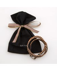 Paul Smith | Men's Black And Taupe Leather Wrap Bracelet for Men | Lyst