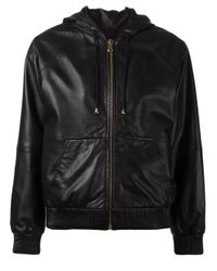 Boutique Moschino   Black Leather Zip Front Jacket   Lyst