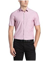 BOSS Green - Purple Regular-fit Short-sleeve Shirt: 'biasino' With A Fine Pattern for Men - Lyst