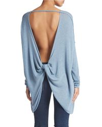 Free People | Blue Shadow Hacci Open-back Sweater | Lyst