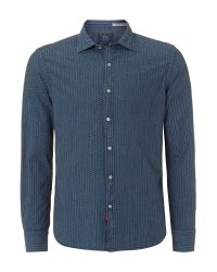 Replay | Blue Printed Indigo Fabric Long Sleeve Shirt for Men | Lyst