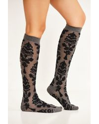 212e4c6cd1c Urban Outfitters Baroque Garland Knee-high Sock in Black - Lyst