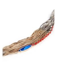 Iosselliani - Metallic Multi-chain Crystal And Stone Embellished Bracelet - Lyst