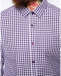 ASOS - White Smart Shirt In Long Sleeve With Gingham Check for Men - Lyst