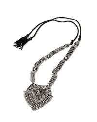 Forever 21 Metallic Etched Cutout Pendant Necklace