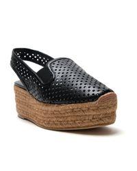 Stella McCartney - Black Perforated Wedge Sandal - Lyst