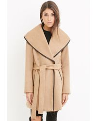 Forever 21 | Natural Contemporary Belted Wool-blend Coat | Lyst