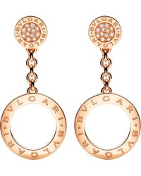 BVLGARI | - Reva 18kt Pink-gold And Diamond Earrings | Lyst
