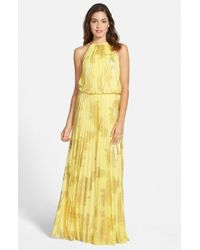 Xscape | Yellow Foiled Pleated Jersey Blouson Dress | Lyst