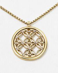 "Michael Kors Metallic Open Monogram Pendant Necklace, 16"""