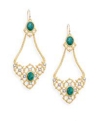 Alexis Bittar Metallic Elements Muse D'ore Chrysocolla & Swarovski Crystal Woven Chandelier Drop Earrings