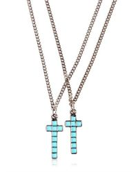 DSquared² Blue Two Metal Cross Necklaces for men