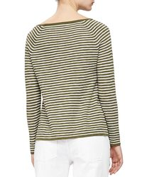 Eileen Fisher - Green Striped Slub A-line Top - Lyst