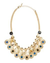 Fragments | Blue Crystal Brushed Disc Mesh Necklace | Lyst