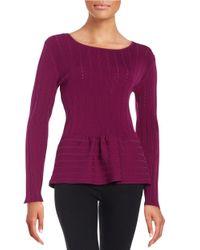 Cece by Cynthia Steffe | Purple Garden Oasis Peplum Sweater | Lyst