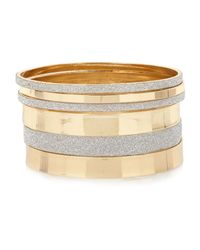 River Island - Metallic Gold Tone Glitter Bangle Pack - Lyst